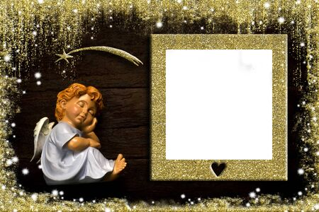 Christmas photo frame card with gold blank picture frame for message or photo. Stock Photo