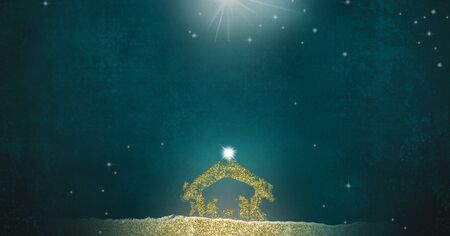 Christmas Nativity Scene greetings cards, abstract simple freehand drawing of Nativity scene  with golden glitter