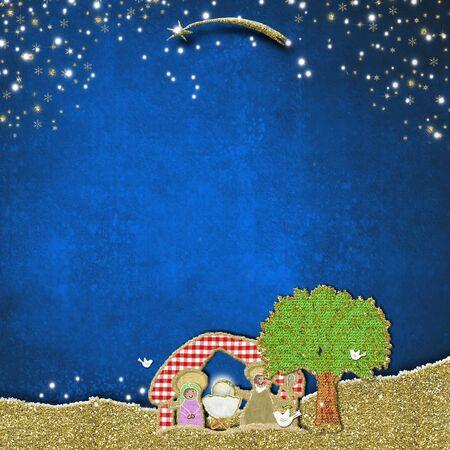 Christmas Nativity Scene greeting card. Children's crafts, handmade style