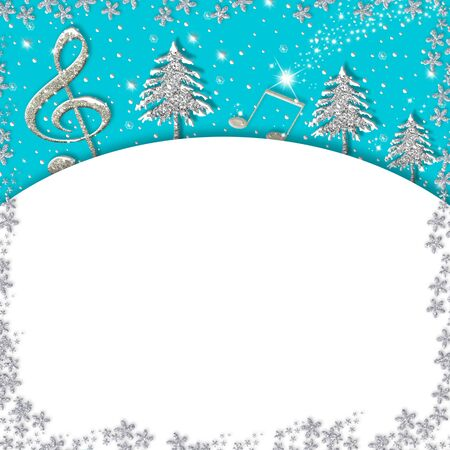 Christmas musical border card.Treble clef  and fir trees silver glitter texture on blue background with copy space. Square image.