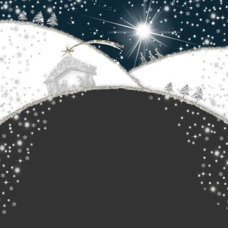 Abstract Christmas Nativity Scene greetings cards, abstract freehand drawing of Nativity scene and Three Wise Men with silver glitter, square background with copy space. Stock fotó