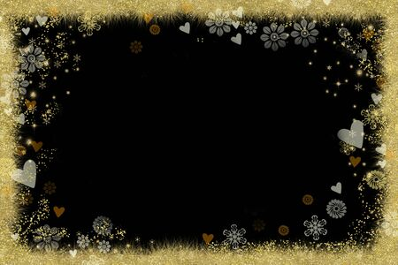 Christmas Nativity greetings card. Stars, snowflakes and flowers, border gold texture on black blank grunge background.
