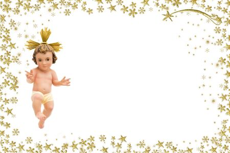 Christmas greeting card, Baby Jesus vintage figurine and Bethlehem star on a white with golden glitter border, copy space.