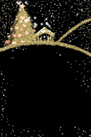 Christmas Nativity Scene greetings cards, abstract freehand drawing of Nativity scene with gold glitter and fir tree with hearts, black background, vertical image.