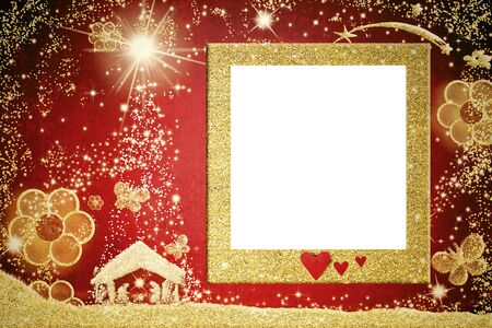 Christmas empty photo frame greetings cards, gold glitter Nativiy Scene and empty picture frame hanging on red background