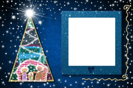 Christmas empty picture frame greetings cards. Nativiy Scene, Christmas tree and blue glitter empty picture frame hanging on blue background.