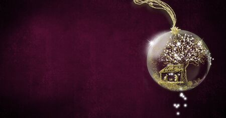 Background for writing christmas cards, Nativity Scene freehand in gold metallic texture inside xmas ball on paper background with space for message, panoramic format.