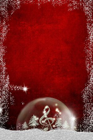 Christmas musical card.Treble clef and silver glitter fir trees inside a ball in a snowy landscape on blue background, copy space, vertical image. Stock Photo