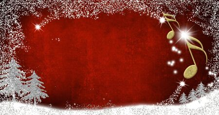 Christmas musical card. Musical notes and fir trees silver and gold glitter texture on red background with copy space.Panoramic image.