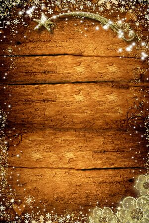 Christmas empty wooden background. Star of Bethlehem, snowflakes and flowers in gold texture on old wooden wall. Vertical image. Stock Photo