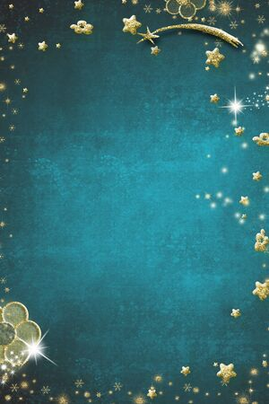 Christmas Nativity greetings cards. Star of Bethlehem, snowflakes and flowers in gold texture on blank green texture background. Vertical image. Stock Photo