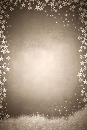 Christmas empty background card. Stars, snowflakes and flowers insilver texture on blank grunge sepia background. Vertical image.