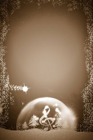 Christmas music background.Treble clef and silver glitter fir trees inside a ball in a snowy landscape, copy space, vertical image. Stockfoto