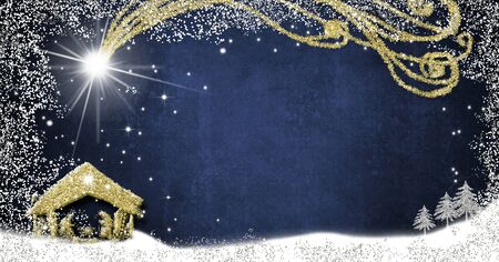 Christmas Nativity Scene creche greetings cards, abstract freehand drawing of Nativity scene with silver and gold glitter on blue paper background with blank, panoramic image. Stockfoto