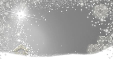 Christmas Nativity Scene greetings cards, abstract freehand drawing of Nativity scene with silver glitter on paper background with blank, panoramic image.