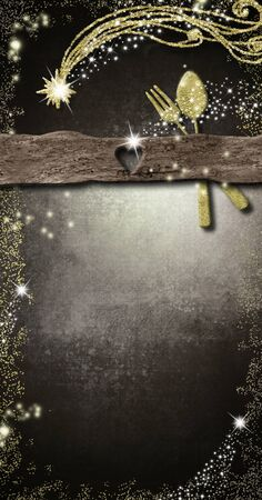 Background for write Christmas menu, invitation card. Gold cutlery and Bethlehem star golden glitter texture hand drawing, copy space paper brackground. Vertical image. Stock Photo