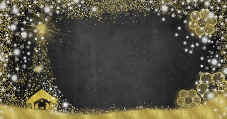 Christmas Nativity Scene  greetings cards, abstract freehand drawing of Nativity scene with silver and gold glitter on gray paper background with copy space, panoramic image.
