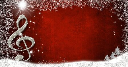 Christmas musical card.Treble clef and fir trees silver glitter texture on red