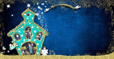 Christmas Nativity Scene greeting card. Funny church with the Virgin Mary, Saint Joseph and Jesus, wise men, shepherds and angels on a blue background with space for message, childrens style. Stockfoto