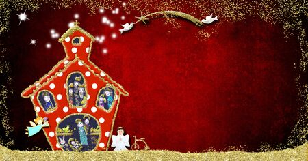 Christmas Nativity Scene greeting card. Nativity Scene  in a graceful church, Star of Bethlehem held by two pigeons and vintage bike  on a red background with space for message, childrens style. Stockfoto