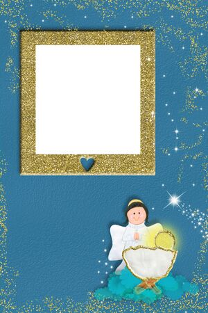 Christmas picture frame greeting card. Angel and Baby crib Jesus on blue background with golden  frame for photo or write message