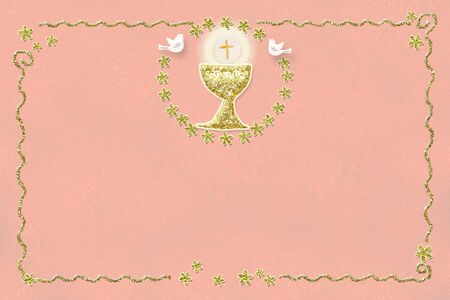 First holy communion invitation card.Golden chalice on pink paper background and gold glitter frame with copy space to text or photo.