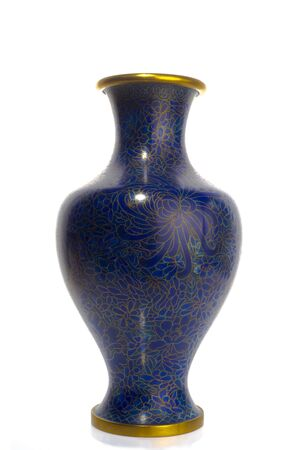 Chinese antique cloisonne technique vase, blue and copper enamels, isolated on white background Banque d'images