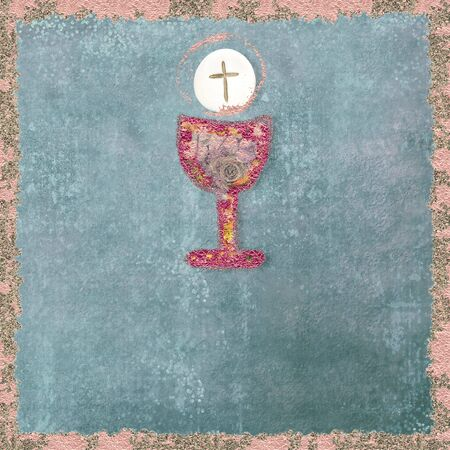 Chalice with flowers and host on grunge parchment