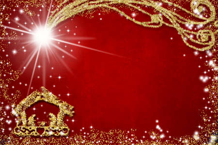 Christmas religious greeting background. Abstract freehand drawing of Nativity Scene with golden glitter, red grunge background with copy space.