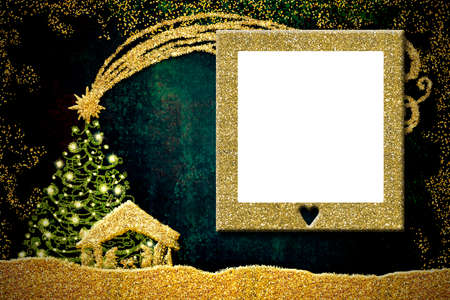 Christmas empty picture frame greetings cards. Nativiy Scene and Bethlehem Star golden glitter, empty white picture frame.