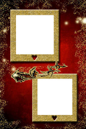 Christmas greeting with two empty frames to put a photo. Geese drawn sleigh and two empty gold glitter pictures, red vertical background. 免版税图像