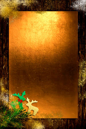 Gold and old wood Christmas empty border background with branch and glitter Santa Claus reindeers.