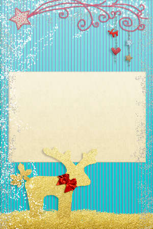 Christmas greetings card for kids. Sanrt gloden reindeer gold glitter texture and cutouts fafrics Bethlehem Star, blank space to put text or photo. Vertical image