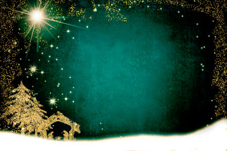 Christmas Nativity Scene greetings cards, abstract freehand drawing of Nativity Scene and Bethlehem Star and tree with golden glitter, snowy landscape, grunge dark background with copy space. 免版税图像