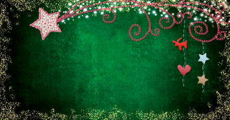 Christmas cards. Bethlehem Star made of cutouts fabrics and glitter and Christmas decorations hangs on dark green background, blank space for text and photos. Panoramic image