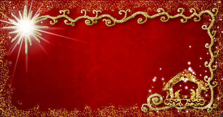 Christmas religious greeting background. Abstract freehand drawing of Nativity Scene with golden glitter, red grunge background with copy space, panoramic format.