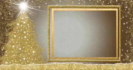 Christmas empty picture frame greetings cards. Christmas fir tree and Bethlehem Star golden glitter, empty white picture frame empty background.
