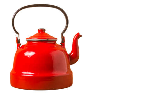 Old red porcelain teapot isolated on white background, copy space