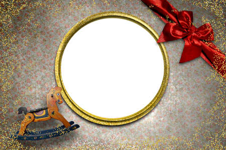 Background with empty frame to put a photo, vintage style, wooden rocking horse and red bow with golden round frame.