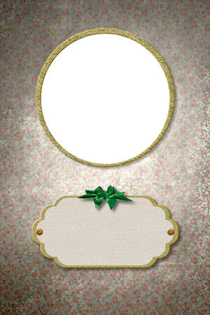 Vertical background with golden round frame to put photo and label for name and date of birth, vintage style, vertical image.