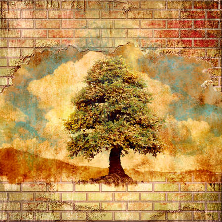Caring for the environment, concept. Composition of a broken brick wall and lonely tree