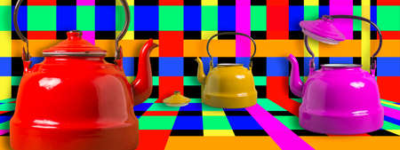 Three fun colored vintage teapots on trendy multicolored squares background, panoramic image.