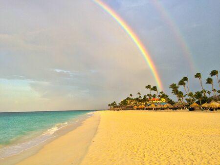rainbow in Aruba Archivio Fotografico