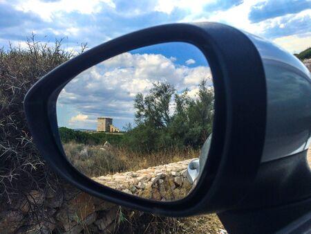 Defensive Tower from car mirror Archivio Fotografico