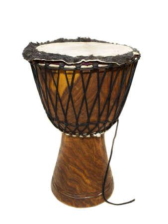 gamelan: Big djembe drum on the white background.