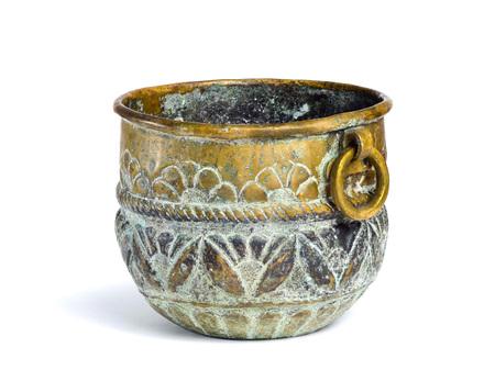 hamam: antique copper bowl isolation on a white background