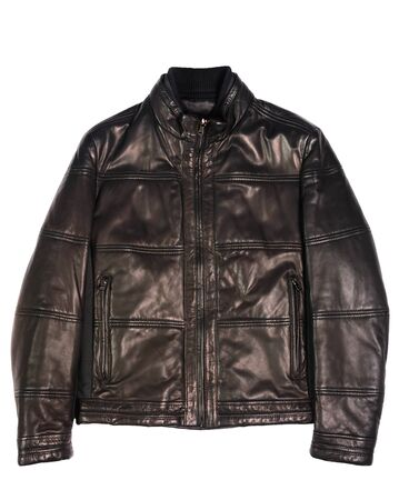 mens leather jacket on a white background isolated 스톡 콘텐츠