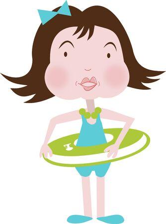 buoy: Child in a buoy Illustration