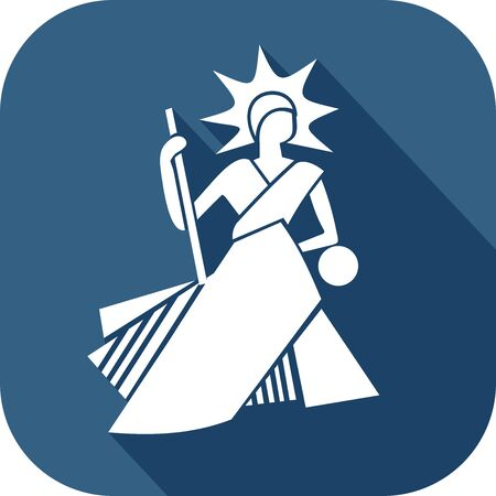 Icon of a bailiff in the flat design style