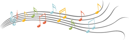 Colored music notes Illustration